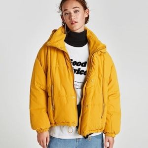 Zara - yellow puffer jacket